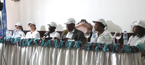 O chefe de Estado, Evaristo Carvalho, ao usar da palavra no lançamento da Semana Africana de Vacinação e da Iniciativa para a Redução Acelerada da Mortalidade Materna e Neonatal