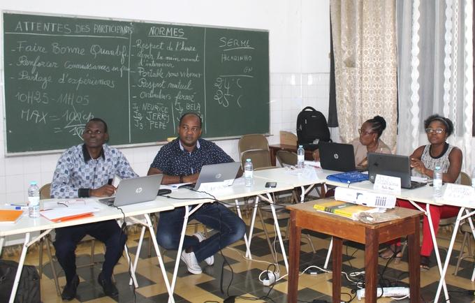 Técnicos em formação sobre a gestão de produtos de Saúde Reprodutiva com o facilitador Serme Ladiama (1.º Esq.)