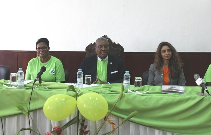 """A campanha """"Laço Verde"""" foi lançada com a presença do Chefe de Estado, Evaristo Carvalho."""
